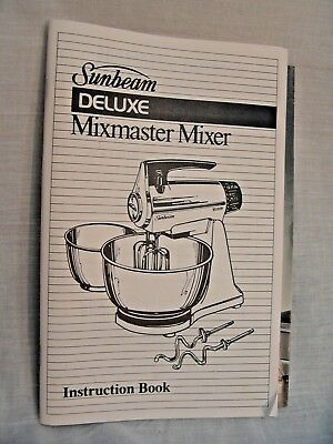 M404 Sunbeam Deluxe Mixmaster Mixer Instruction Recipe Book 80's French English