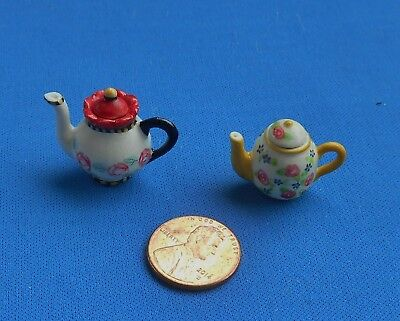 "Ceramic porcelain Miniature Vintage Dollhouse 2 Teapots 3/4""  Mary Engelbreit"