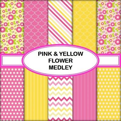 PINK & YELLOW FLOWER MEDLEY SCRAPBOOK PAPER - 10 x A4 pages