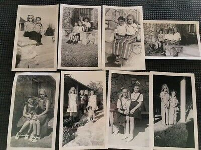Antique Vintage Original Photographs 1940's Little Girls Oklahoma Ranch Lot of 8