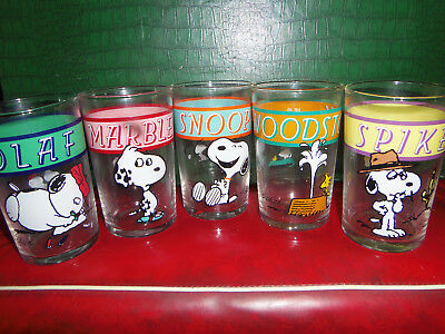 5 Schultz PEANUTS SNOOPY BROTHERS GLASSES OLAF MARBLES SPIKE WOODSTOCK