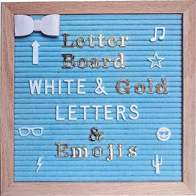 Blue Felt Letter Board 10x10 inches – Changeable Message Board Includes White