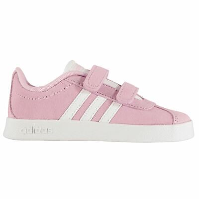 adidas Kids Girls VL Court Suede Infant Trainers Strap Comfortable Fit  Everyday e25467b6b