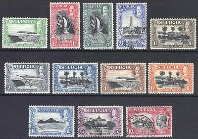 St Lucia 1936 1/2d-5/- Pictorial P14  SG 113-124 Scott 95-106 VFU Cat £110($144)
