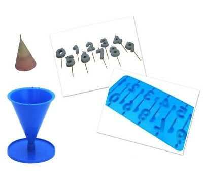 Set x 2, Number 0-9 Candle Birthday Tray & Cone Shape Candle Moulds Molds. S7703