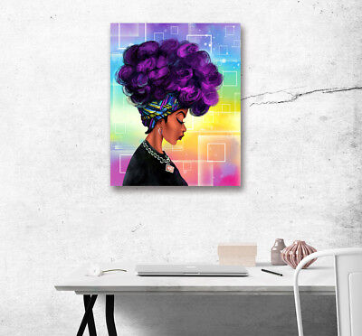 Purple Hair Afro African Women Home Decor Abstract Art Painting Canvas Print