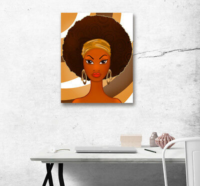 African Afro Woman Beauty Girl Home Decor Abstract Art Painting Canvas Print