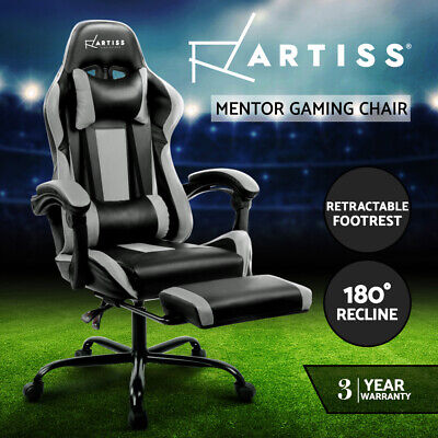 Gaming Chair Office Computer Seating Racing PU Leather Executive Racer Black GR