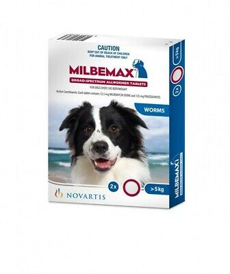 Milbemax 5-25kg Dog Broad Spectrum Allwormer Tablets 2's (M1056)