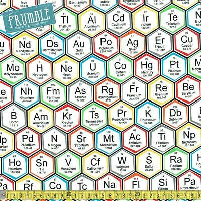 Robert Kaufman Fabric Science Fair 2 Periodic Table Hexagons Multi HALF METRE