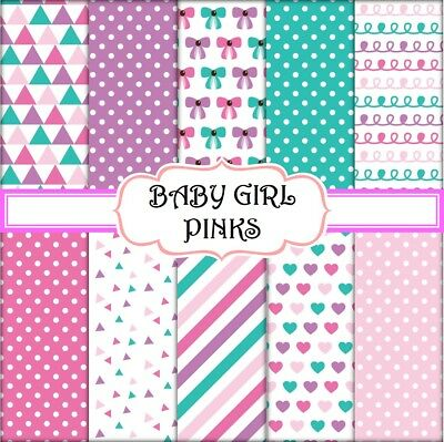 BABY GIRL PINKS SCRAPBOOK PAPER - 10 x A4 pages