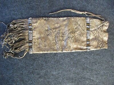 Old Beaded Pipe Bag, Native American  Beaded Leather Chanupa Bag,   Day-02306