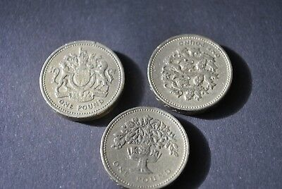 Set of 3 Pound coins from UK, Seal, Oak tree, dragons
