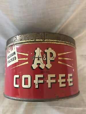 Vintage A & P Brand Coffee Tin 1 Pound Size