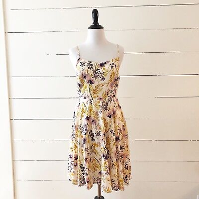 Women's Old Navy Cami Autumn Floral Fit & Flare Dress Yellow - Small Petite SP