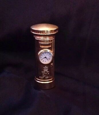 Park Lane Miniature Clock, Gold Post Box. Good Woking Order, Battery Included