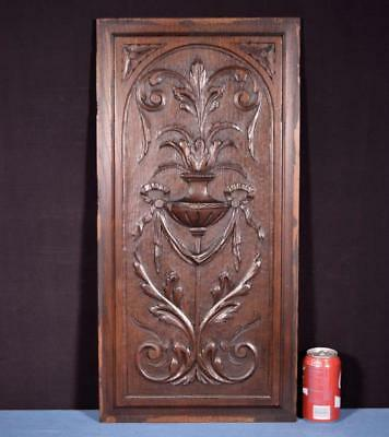 *Antique French Highly Carved Panel in Oak Wood Salvage w/Urn and Ribbons