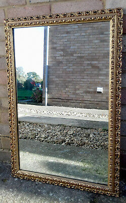 LARGE VINTAGE MIRROR - 32 inches x 21 inches - ANTIQUE GOLD GILT MIRROR 1900s