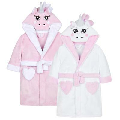 Childrens Novelty Unicorn Snuggle Fleece Dressing Gown with Tail ~ 2-13 Years