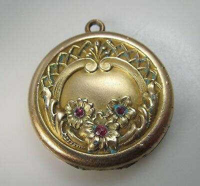 Art Nouveau Edwardian Gold Filled Pin Paste Locket Vintage Antique