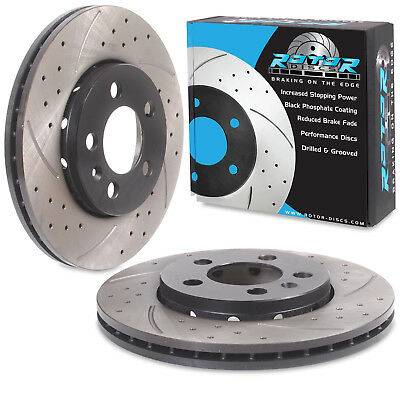 ROTORDISC FRONT DRILLED GROOVED 340mm RACE BRAKE DISCS PAIR FOR AUDI A3 8V S3