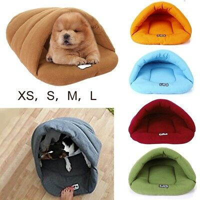 Cozy Pet Cat Dog House Kennel Puppy Cave Sleeping Bag Bed Soft Mat Pad Warm Nest