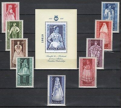 Hungary 1963. Costumes nice set + SPECIAL SHEET MNH Michel: 1954-1962 + EXTRA