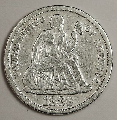 1886-s Liberty Seated Dime.  V.F. Detail.  131190