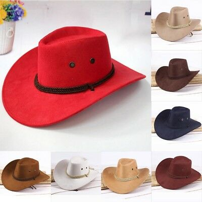 5c5189ca9f9 Retro Western Cowboy Cowgirl Hat Men Riding Cap Fashion Wide Brim Adjustable