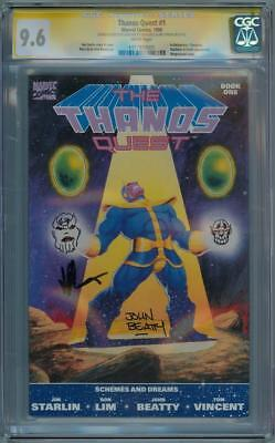 THANOS QUEST 1 CGC 9.6 SIGNATURE SERIES SIGNED x2 STARLIN SKETCH OA MARVEL MOVIE