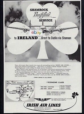 Irish Airlines 1958 Shamrock Thriftline New York/shannon/dublin Constellation Ad