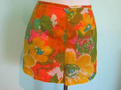 Vintage Kahala Bright Floral Silk Shorts Small