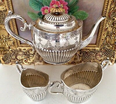 Superb Quality Antique Victorian Chased Silver Plated Teaset JOHN GILBERT C1870