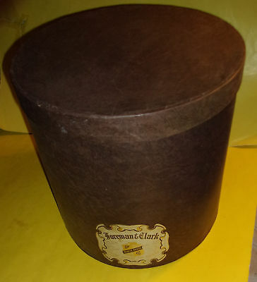 Large Brown Foreman & Clark Hat Box 1940s Great Graphics! Nice See!
