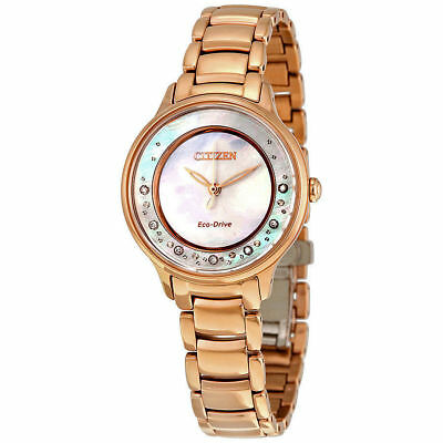 Citizen Womens $650 Eco-Drive Diamond Rose Gold Circle Of Time Watch, Em0382-86D