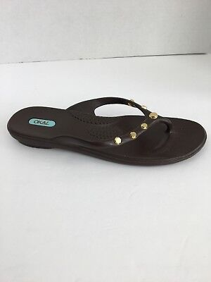 56bc6aba74743 Oka B Womens Sandals M L 8.5 9.5 Brown Gold Studded Flip Flops Made in USA