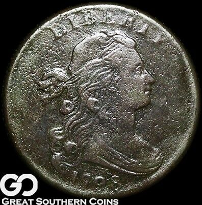1798 Large Cent, Draped Bust, Hair Style 2, Tough Early Date Copper!