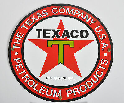 "Texaco The Texas Company Petroleum Products 12"" Porcelain Metal Sign Weber's"