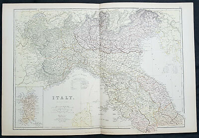 1870 Blackie & Son Large Original Antique Map of Northern Italy