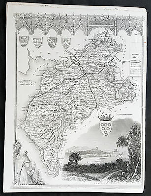 1836 Thomas Moule Original Antique Map of The County of Cumberland, England