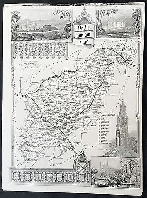 1836 Thomas Moule Original Antique Map of The County of Northamptonshire England