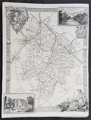 1836 Thomas Moule Original Antique Map of The County of Warwickshire, England