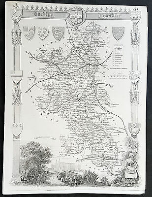 1836 Thomas Moule Original Antique Map of The County Barking, Hamshire, England