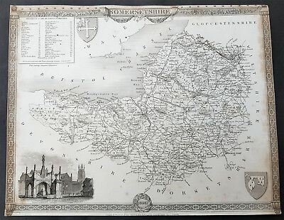 1836 Thomas Moule Original Antique Map of Somerset - English County