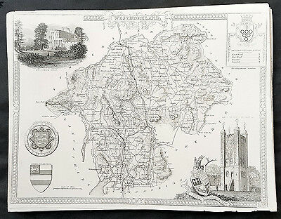 1836 Thomas Moule Original Antique Map of The County of Westmoreland, England