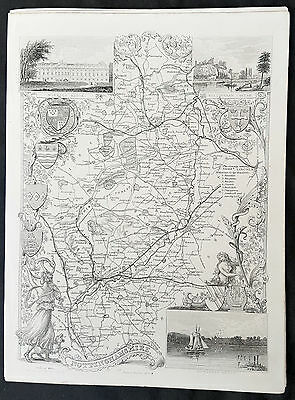 1836 Thomas Moule Original Antique Map of The County of Nottinghamshire, England