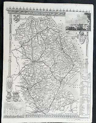 1836 Thomas Moule Original Antique Map of The County of Lincolnshire, England
