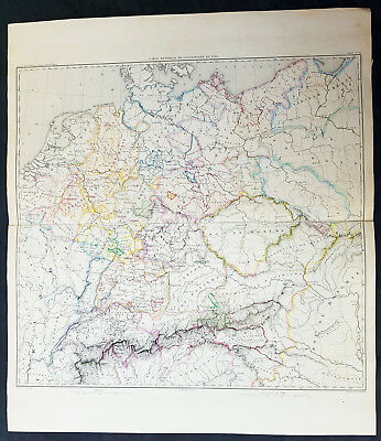 1835 Thiers Original Antique Napoleonic Map of Germany & Central Europe in 1789