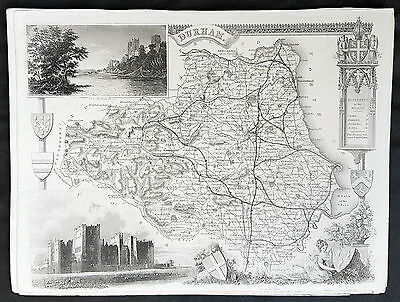 1836 Thomas Moule Original Antique Map of The County of Durham, England