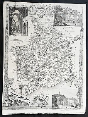 1836 Thomas Moule Original Antique Map of The County of Monmouthshire, England